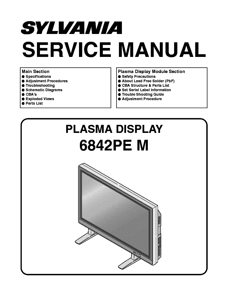 sylvania 6842pe m l0655uf 060914 pdp tv service manual download rh elektrotanya com
