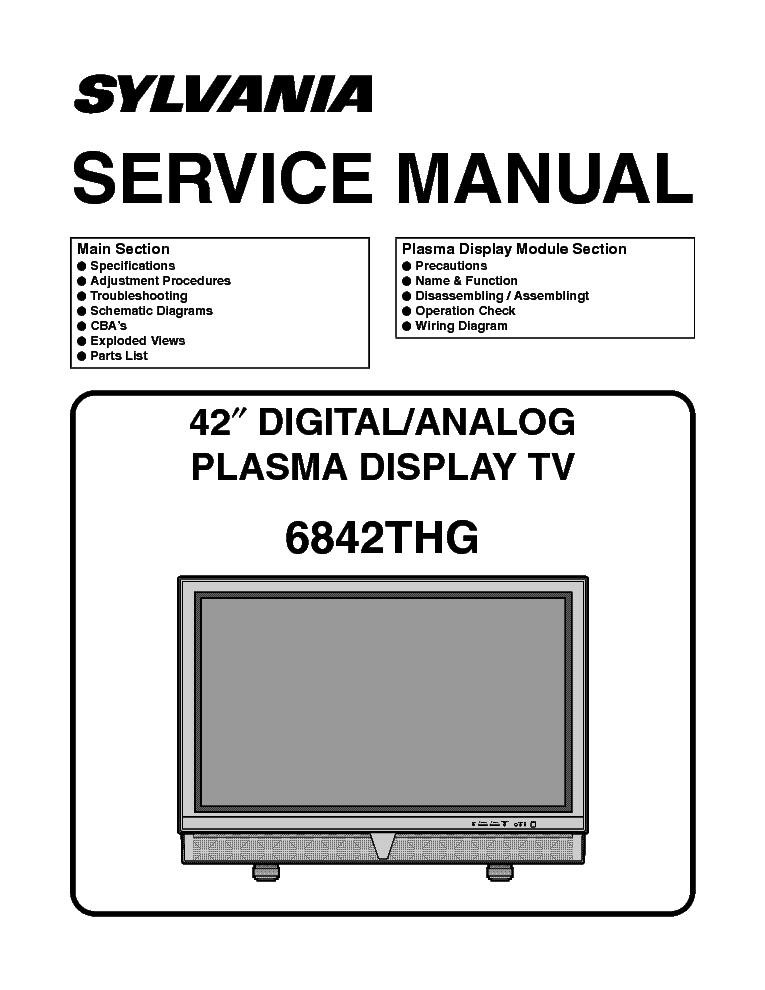 sylvania 6842thg service manual download schematics eeprom repair rh elektrotanya com Repair Manuals Customer Service Books