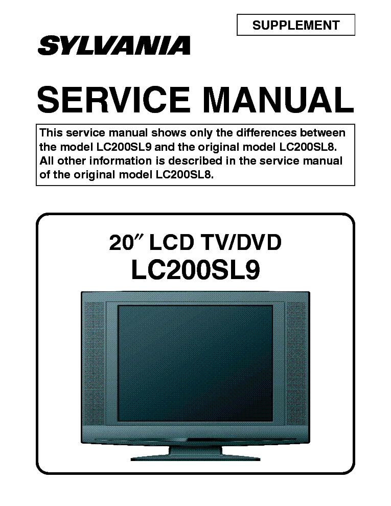 SYLVANIA LC200SL9 LCD TV SM Service Manual 1st Page