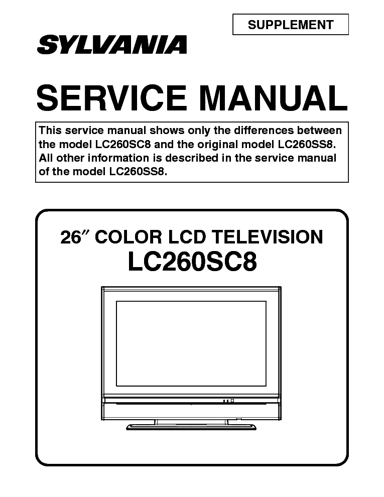 Sylvania Lc260sc8 Lcd Tv Sm Service Manual Download  Schematics  Eeprom  Repair Info For