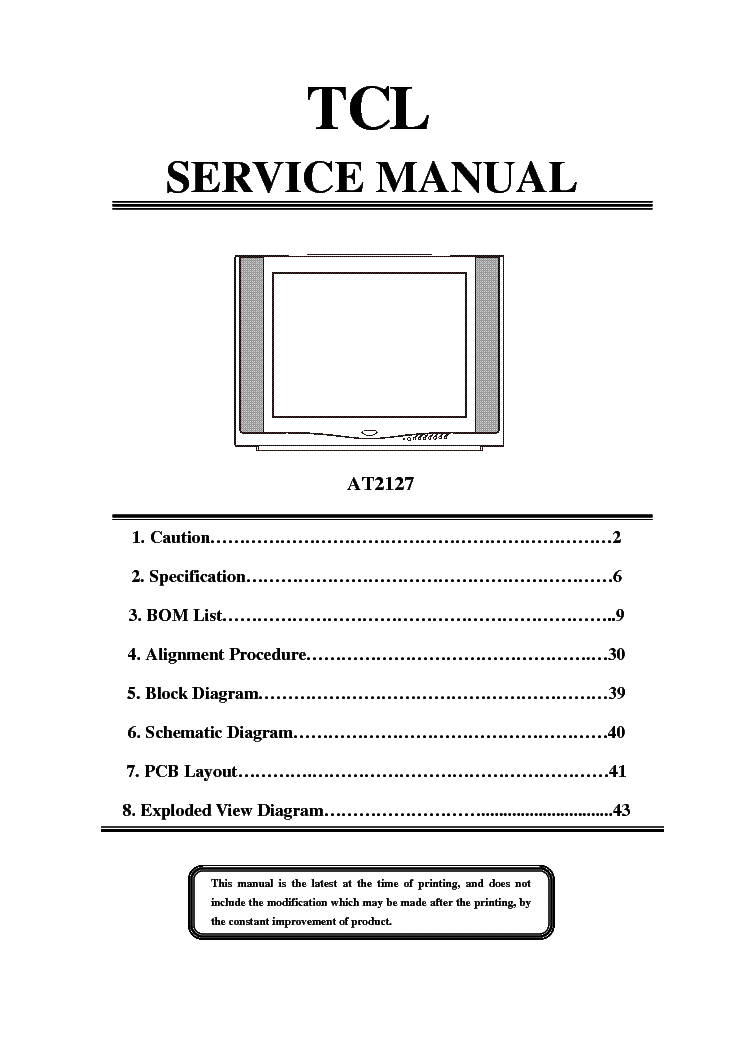 tcl at2127 crt tv sm service manual (1st page)