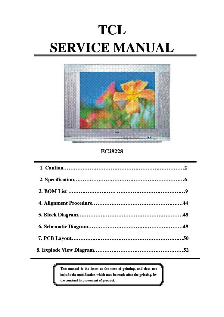 tcl ec29228 crt tv service manual download schematics eeprom rh elektrotanya com Vizio TV Manual Samsung Rear Projection TV Manual
