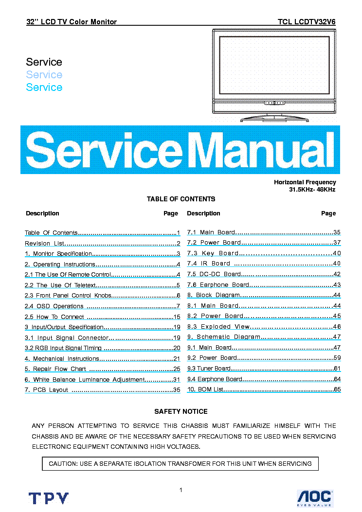 Tcl Lcdtv32v6 Lcd Tv Sm Service Manual Download