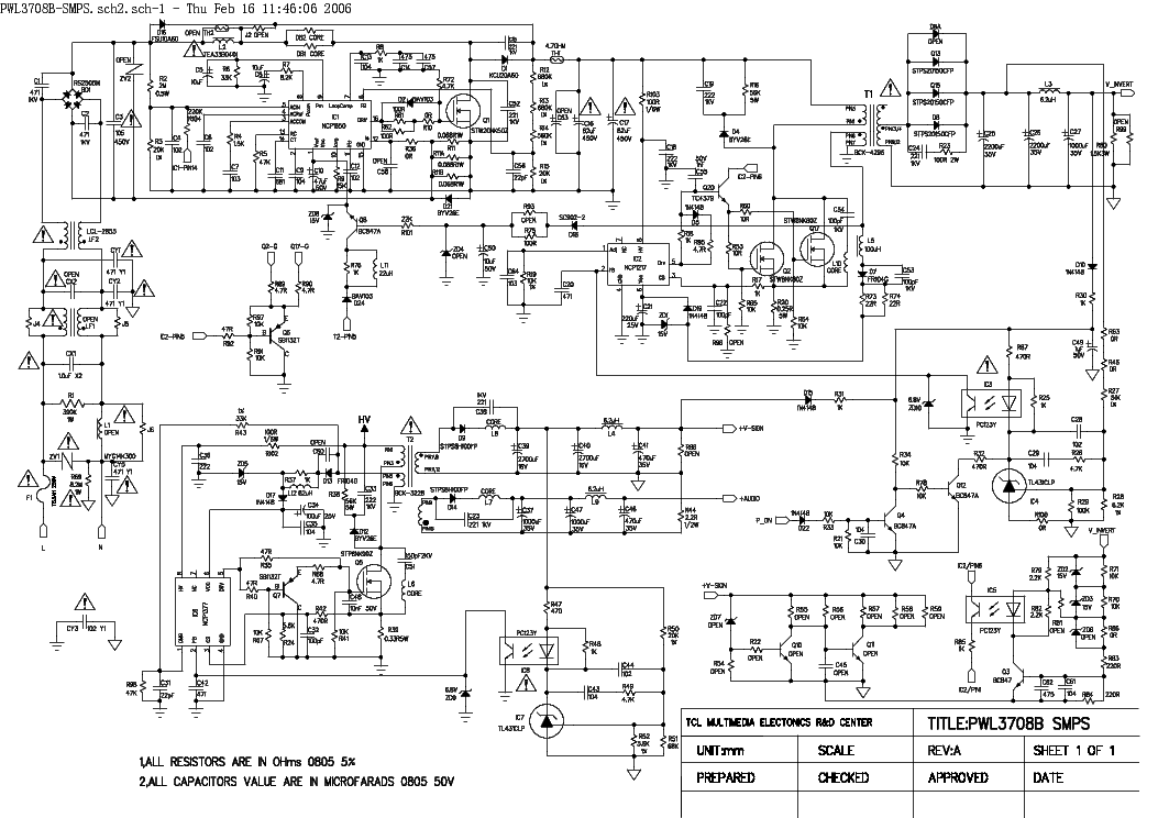 TCL PWL3708B-SMPS SCH Service Manual download, schematics, eeprom ...