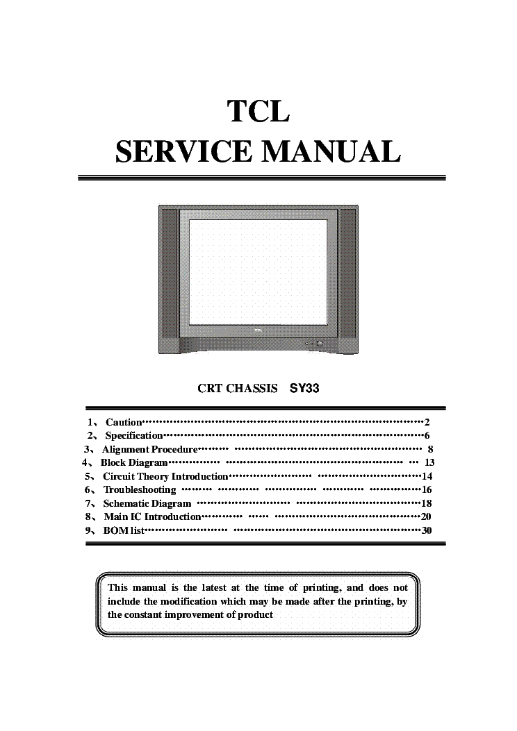 TCL AT2127 CRT TV SM Service Manual download, schematics