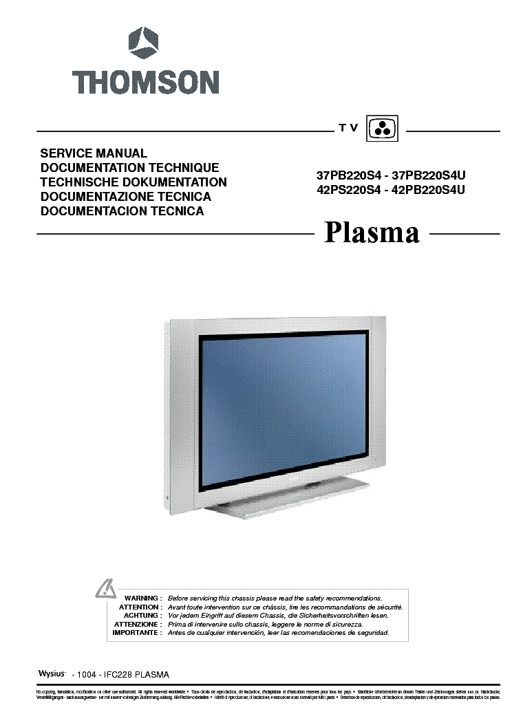 Thomson tv/ television manual in the français french language.