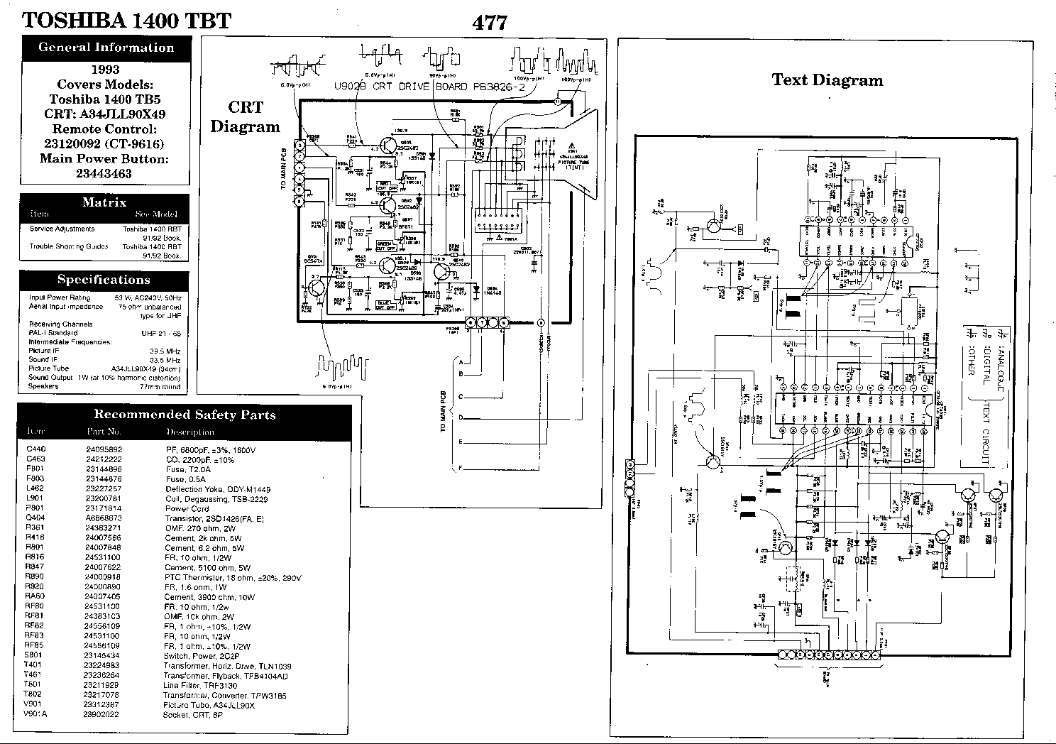 toshiba 1400tb service manual download  schematics  eeprom  repair info for electronics experts