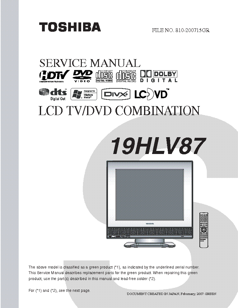 Toshiba 19hlv87 Service Manual Download  Schematics