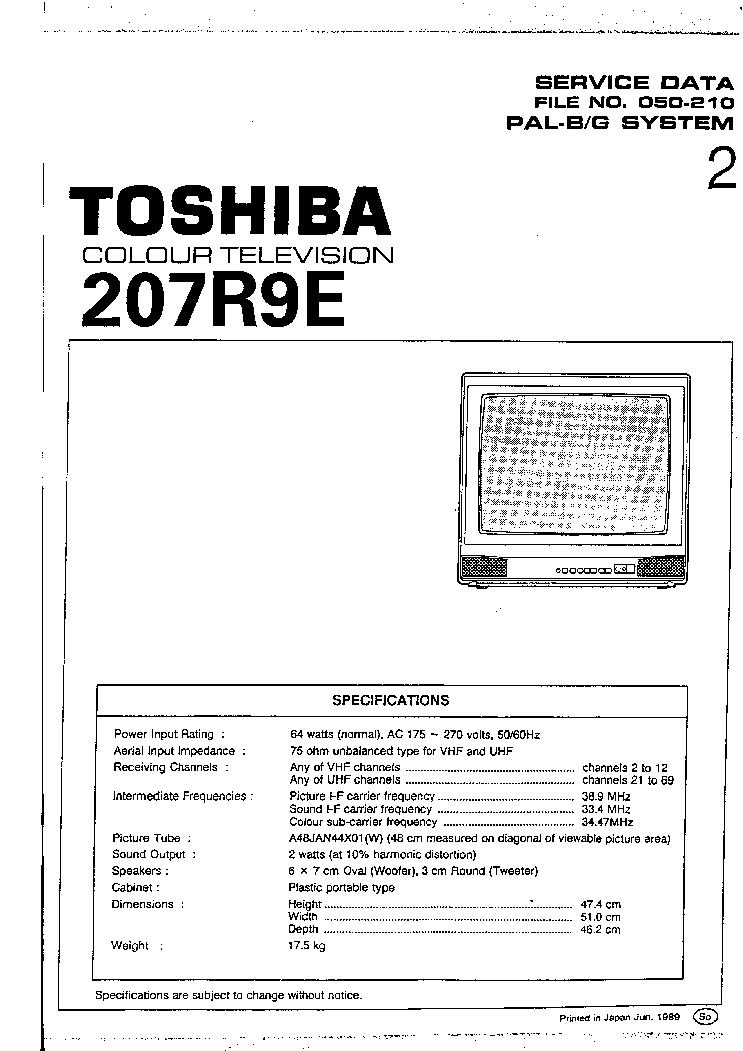 Электрическая схема телевизора Toshiba 207R9E.