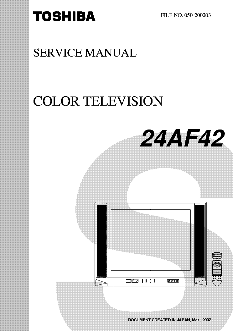 Toshiba 24af42 Tv Sm Service Manual Download  Schematics  Eeprom  Repair Info For Electronics