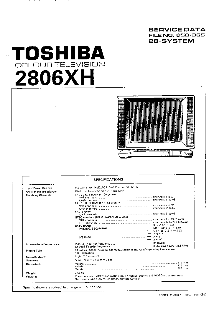 Toshiba 2806xh Tv Sm Service Manual Download  Schematics