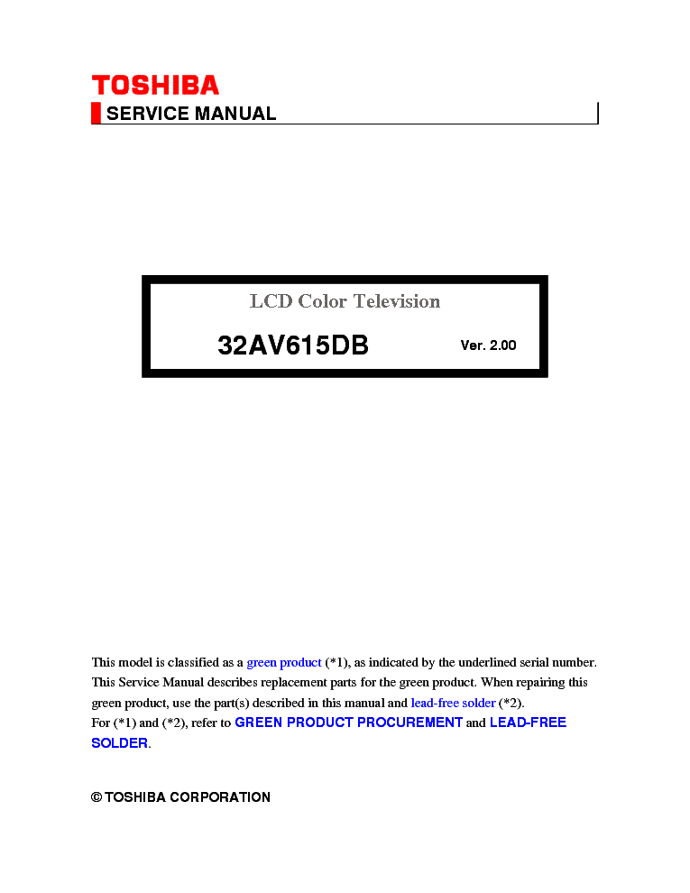 toshiba 32av615db ver 2 00 lcd tv service manual download rh elektrotanya com Toshiba Satellite Service Manual toshiba lcd tv service manual pdf