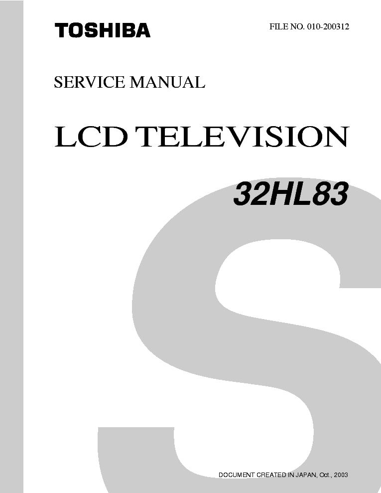 toshiba 32hl83 lcd tv sm service manual download schematics eeprom rh elektrotanya com toshiba lcd tv service manual pdf Big Screen TV Repair Manuals