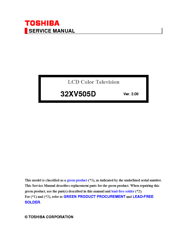 TOSHIBA 32XV505D service