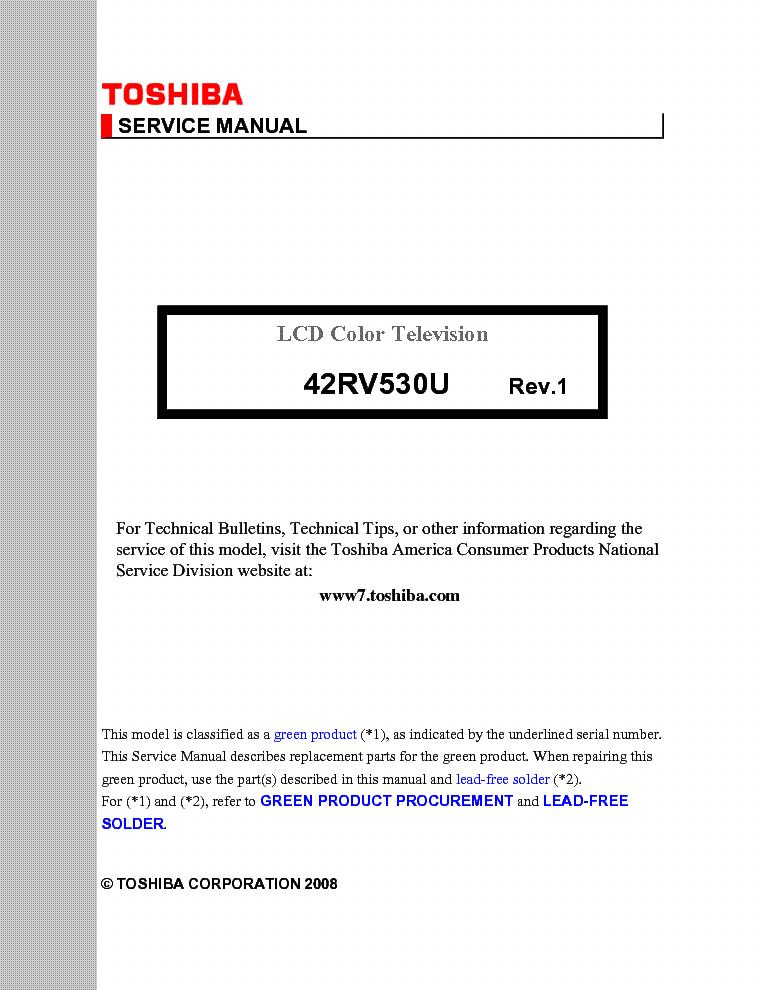toshiba 42rv530u service manual download schematics eeprom repair rh elektrotanya com Repair Manuals User Manual