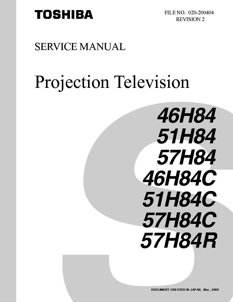 TOSHIBA 46H84 PROJECTION TV SM service manual