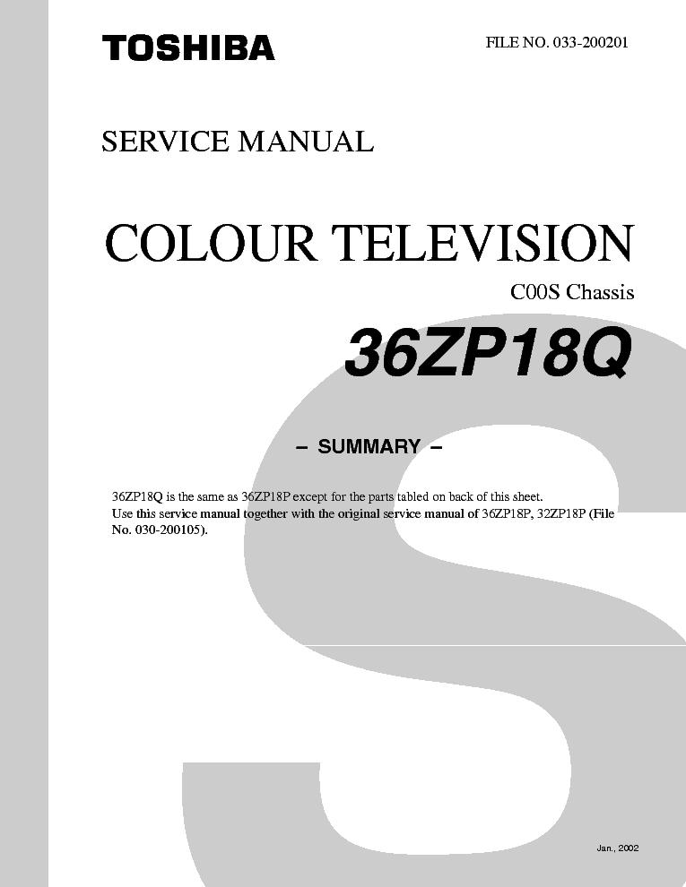 toshiba 27a33 color tv service manual download