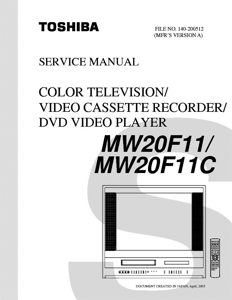 toshiba mw20f11 tv dvd vcr sm service manual download schematics rh elektrotanya com Toshiba 51H84 Toshiba TheaterWide HDTV