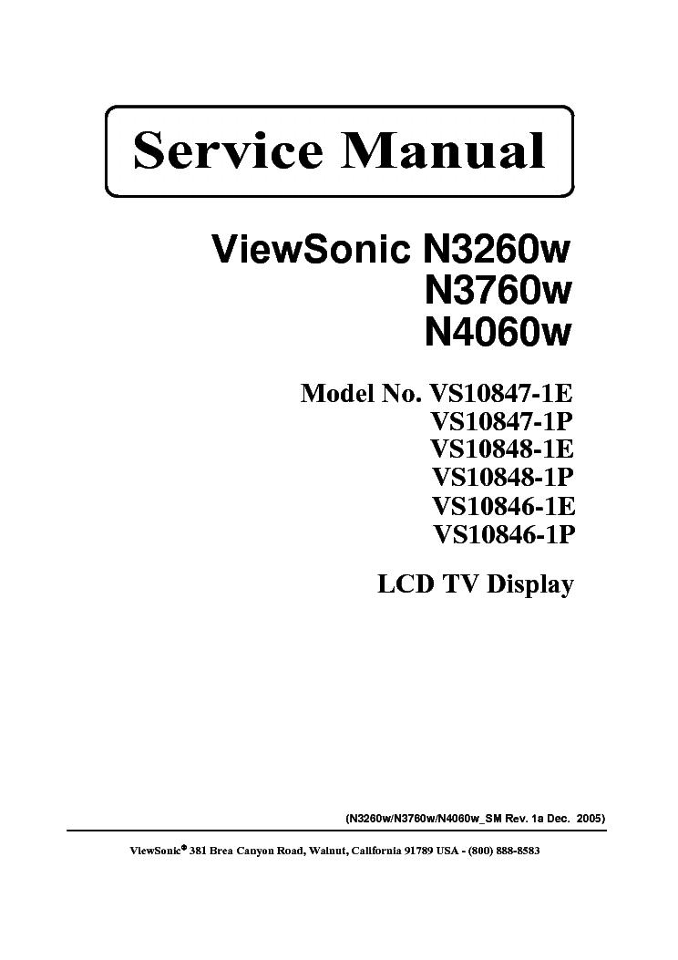viewsonic n 3260w 3760w 4060w sm service manual download schematics rh elektrotanya com viewsonic pro8200 service manual viewsonic pro8200 service manual