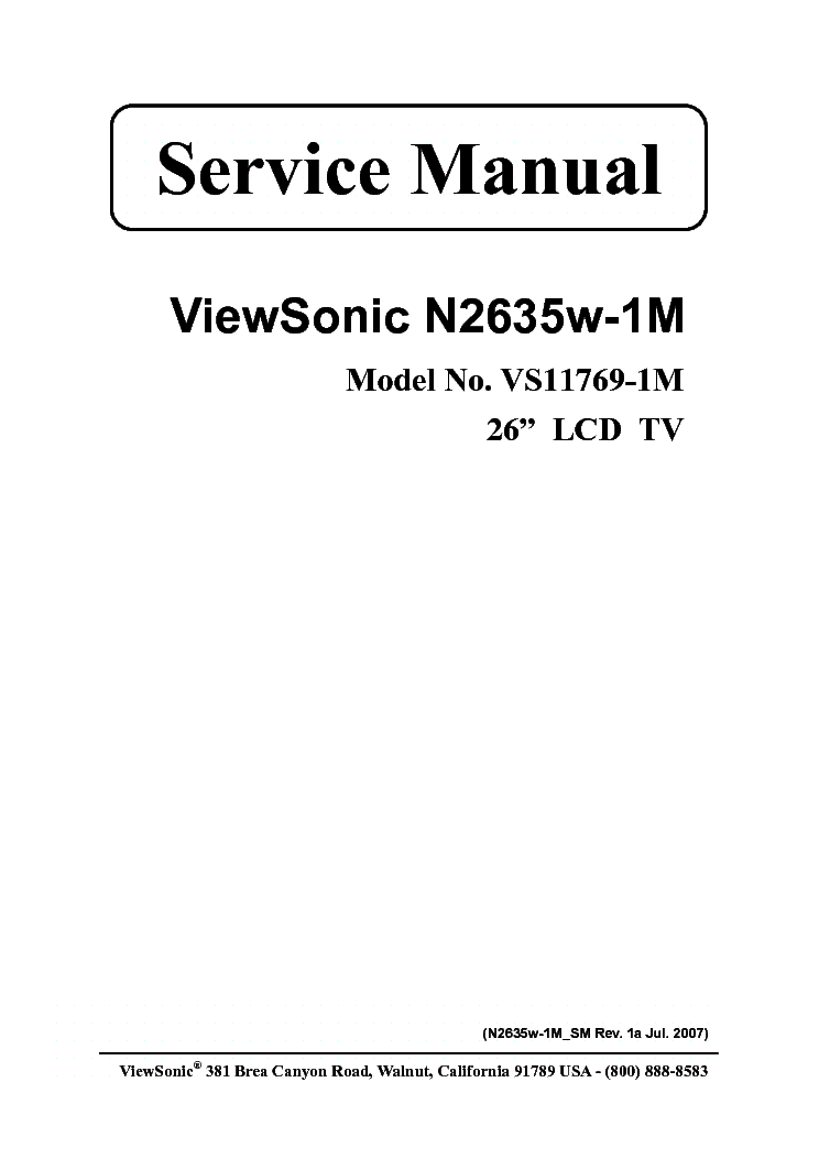 VIEWSONIC N2635W-1-M VS11769-1M service manual