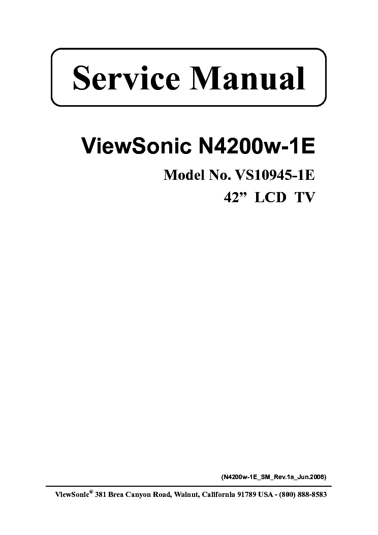 VIEWSONIC N4200W-1E VS10945-1E service manual