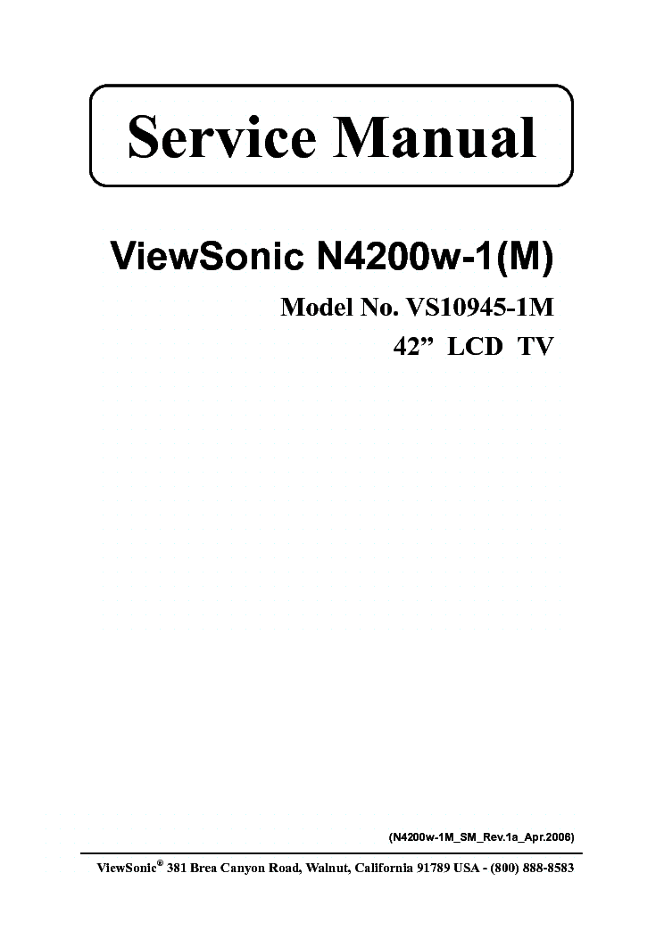 VIEWSONIC N4200W-1M VS10945-1M service manual