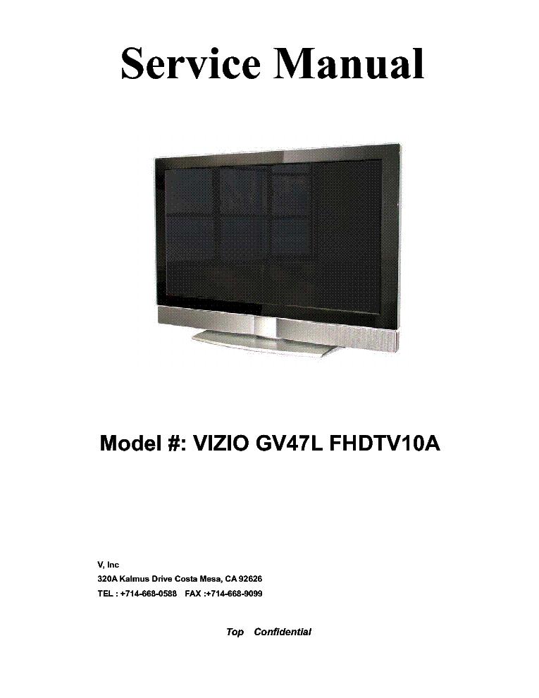 vizio gv47l fhdtv10a lcd tv sm service manual download schematics rh elektrotanya com vizio vx32l hdtv10a manual TV Vizio VX32LHDTV10A