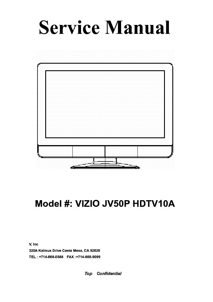 vizio jv50p hdtv10a plasma tv sm service manual download schematics rh elektrotanya com Vizio TV Service Manuals Vizio TV Dimensions