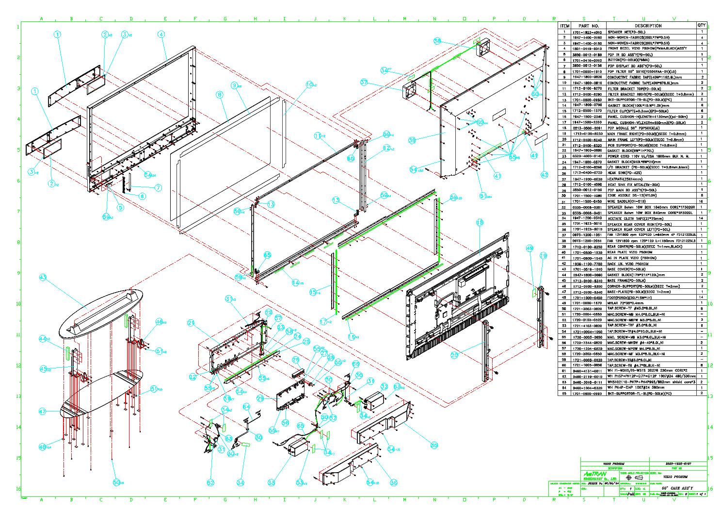 VIZIO P50HDM PARTS MANUAL Service Manual download ... on bose schematics, rca schematics, yamaha schematics, magnavox schematics, zenith schematics, samsung schematics,