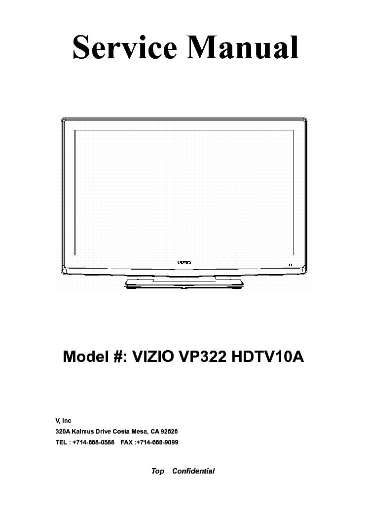 VIZIO VP322 HDTV10A PDP-TV SM Service Manual download