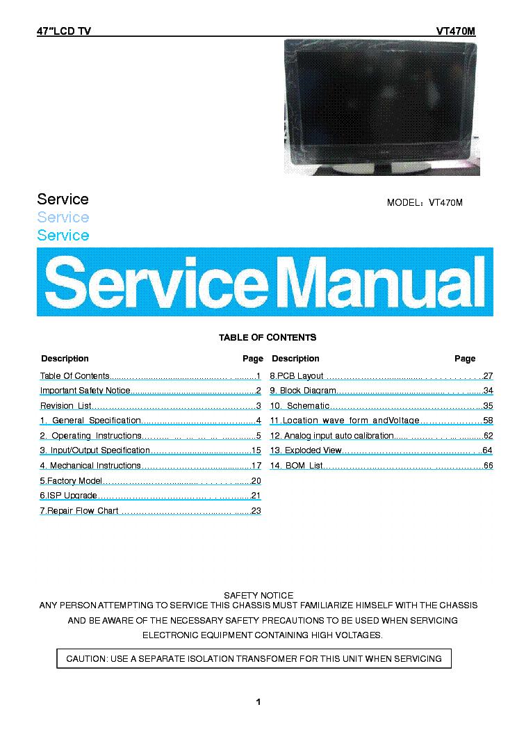 vizio vt470m lcd tv service manual download schematics eeprom rh elektrotanya com vizio lcd tv service manual vizio tv service manual