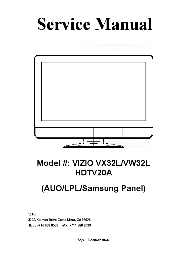 vizio vx32l vw32l hdtv20a service manual download schematics rh elektrotanya com Vizio VW32L 40A Vizio VW32L No