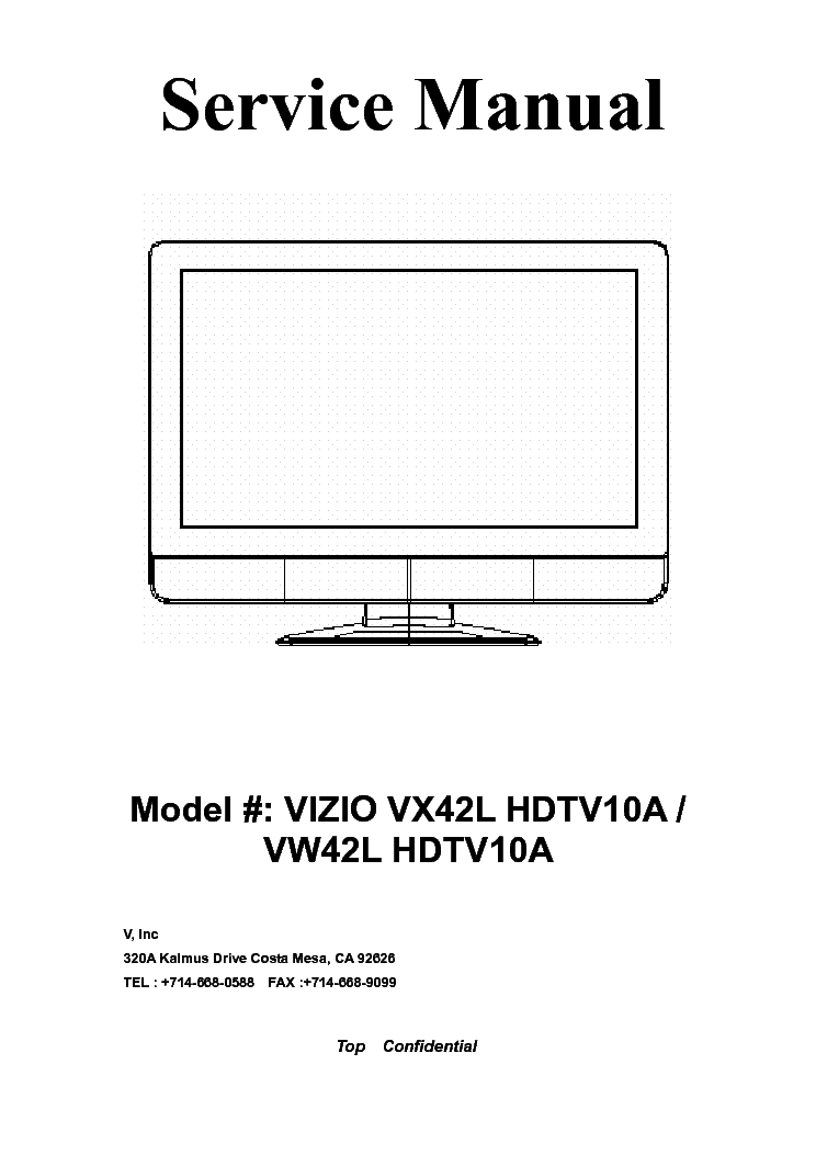 Vizio Vx42l Vw42l Hdtv10a Sm Service Manual Free Download
