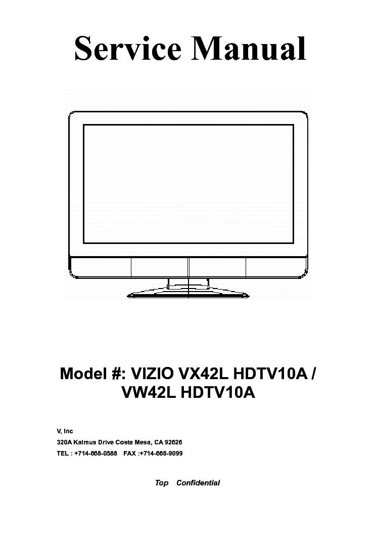 vizio vx42l vw42l hdtv10a sm service manual download schematics rh elektrotanya com Vizio Repair Manuals Vizio VX37L Service Manual