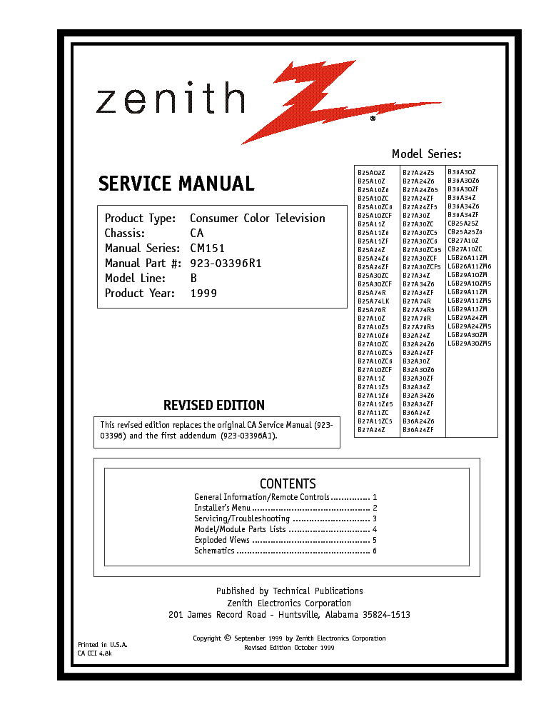 zenith ca chassis b25a02z sm service manual download schematics rh elektrotanya com Zenith Radio Model Numbers Zenith VCR Owner's Manual