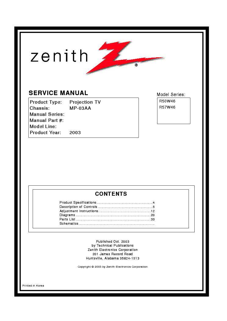 zenith r50w46 r57w46 chassis mp 03aa sm service manual download rh elektrotanya com LG TV Schematic Diagram Zenith Converter Box Schematics
