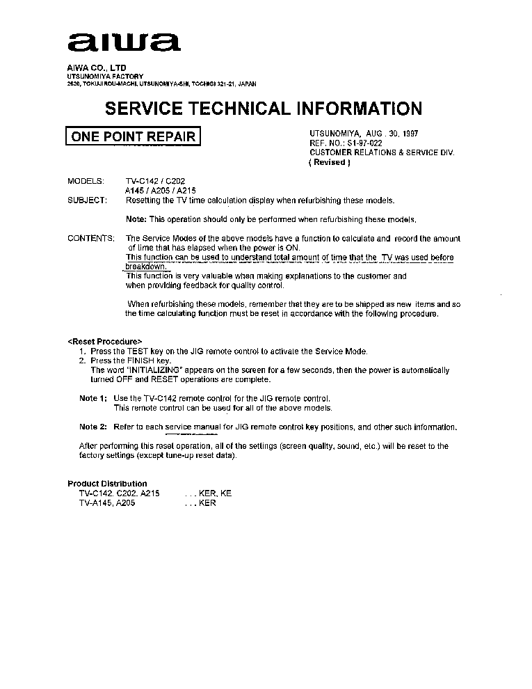 AIWA TV-C142 TV-C202 TV-A145 TV-A205 TV-A215 SI-97-022-R SERVICE BULLETIN service manual (1st page)