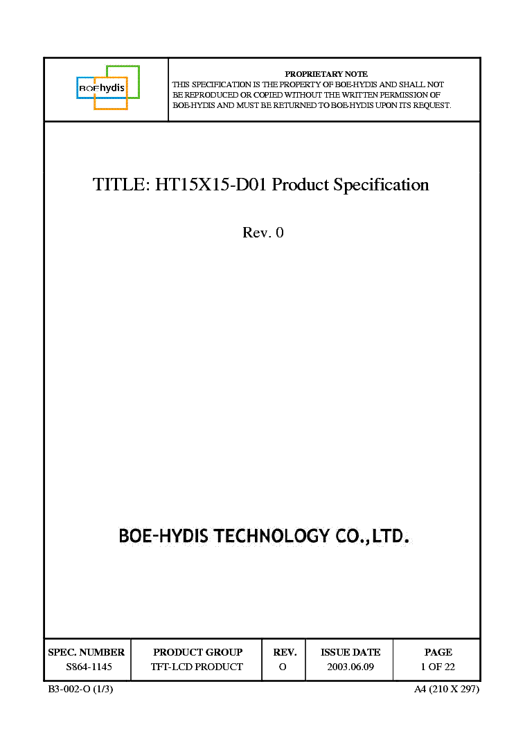 HT15X15-D01 LCD service manual (1st page)