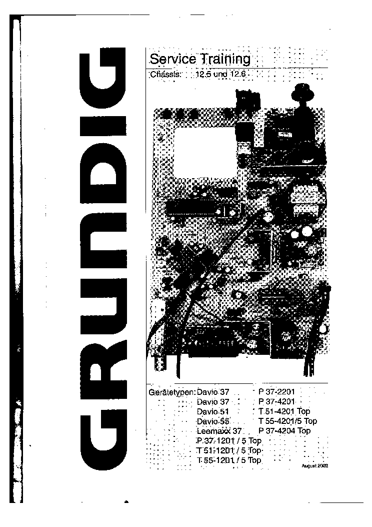 GRUNDIG CHASSIS 12.5 12.6 TRAINING MANUAL service manual (1st page)