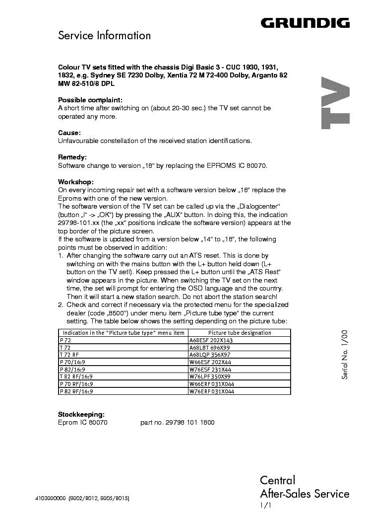 Grundig Tv Audio 2000 Info Service Manual Download  Schematics  Eeprom  Repair Info For