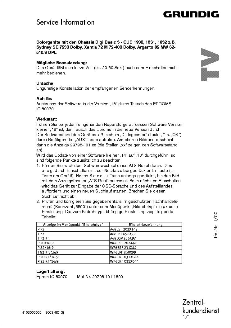 Grundig Tv Audio Vcr 2000 Info Service Manual Download
