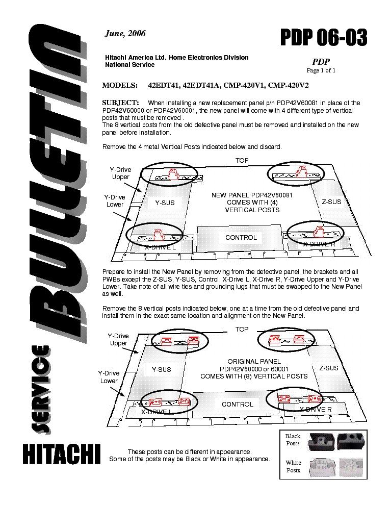 Service manual: hitachi 42edt41a cmp420v1 cmp420v2: free download.