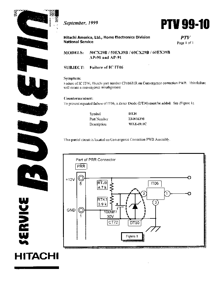 HITACHI 50-60CX29B 50-60EX39B PTV-99-10 service manual (1st page)