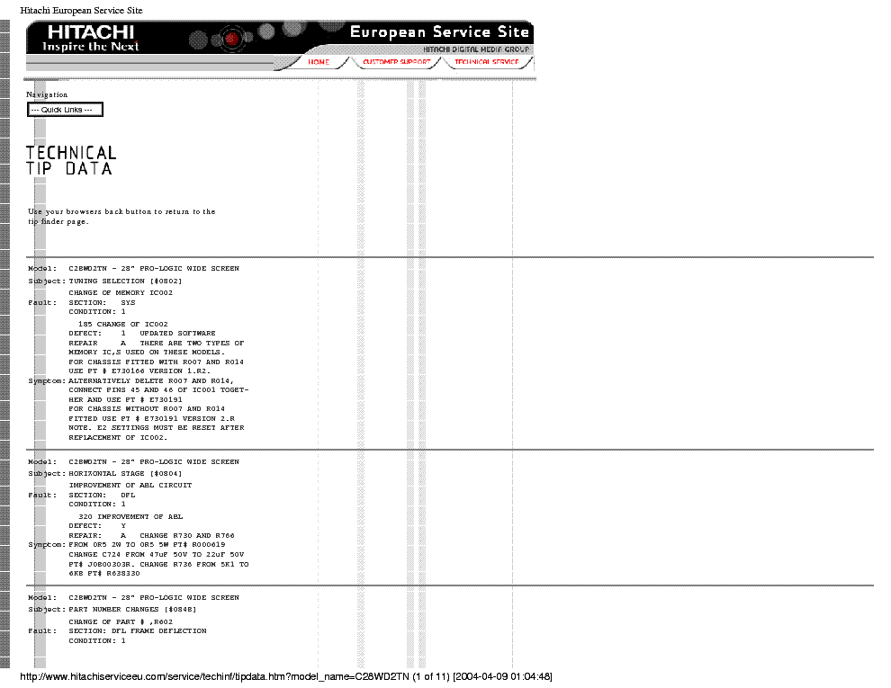 HITACHI C28WD2TN REPAIR-TIPS service manual (2nd page)