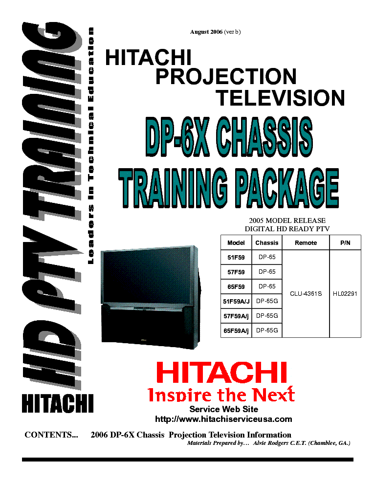 HITACHI DP-6X TRAINING PACKAGE service manual (1st page)