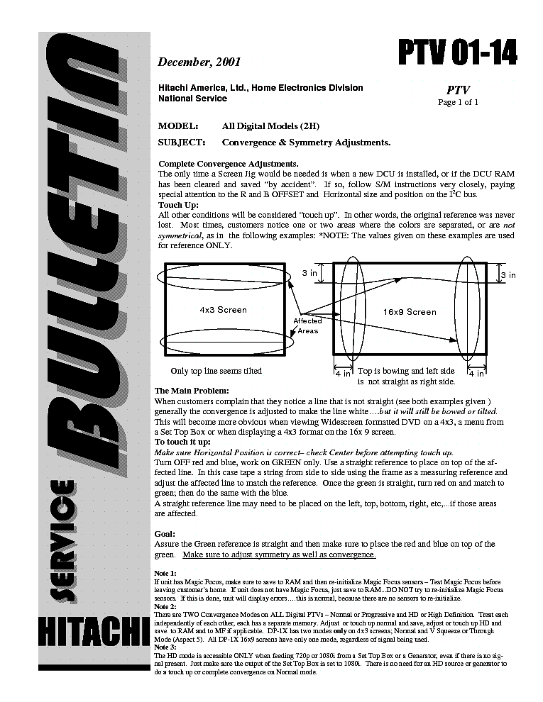 HITACHI MODEL DH PTV-01-14 service manual (1st page)