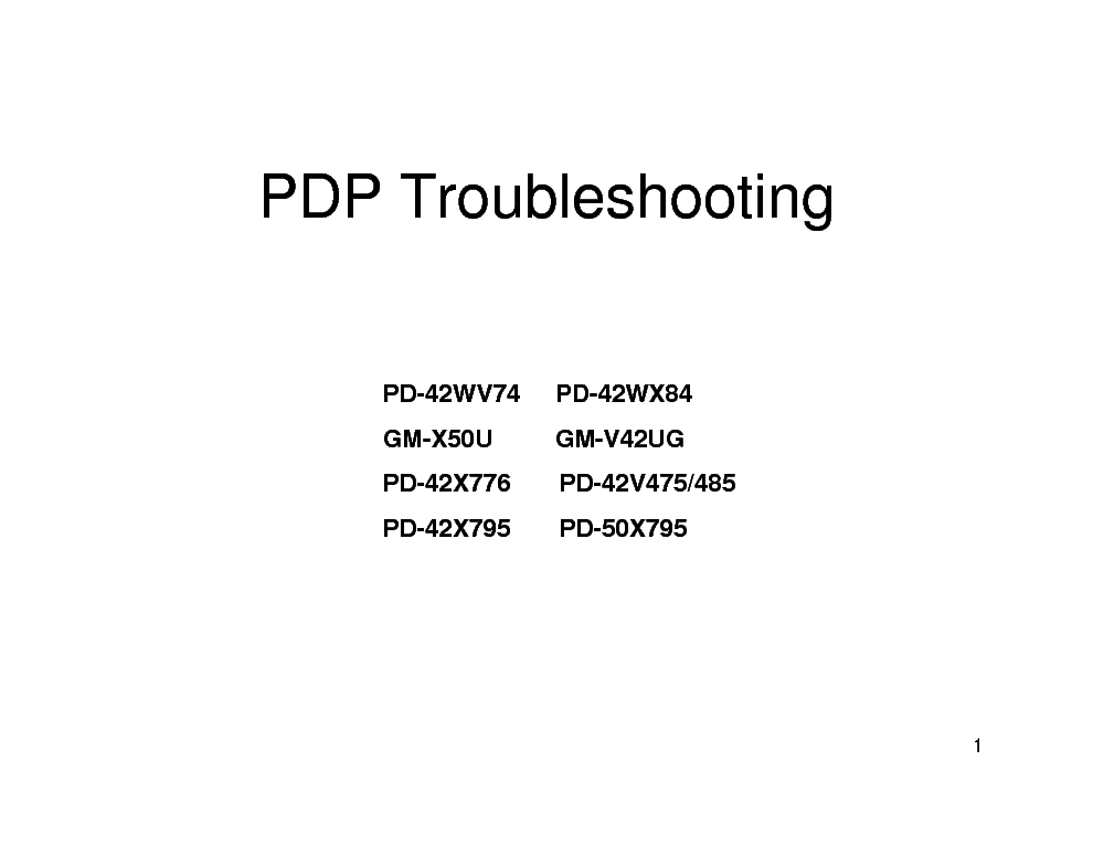 JVC PD-42WV74 PD-42WX84 GM-X50U GM-V42UG PD-42X776 X795 PD-42V475 485 PD-50X795 PDP TROUBLESHOOTING service manual (1st page)