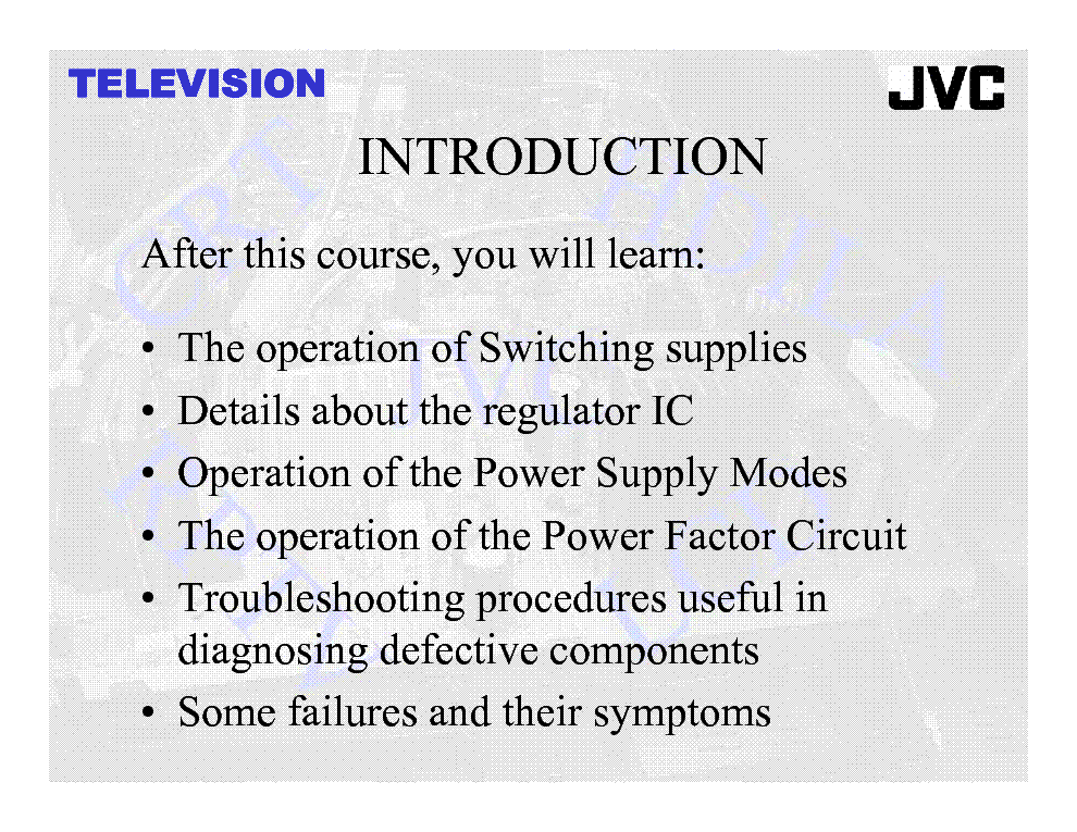 JVC TV POWER SUPPLY TRAINING MANUAL service manual (2nd page)