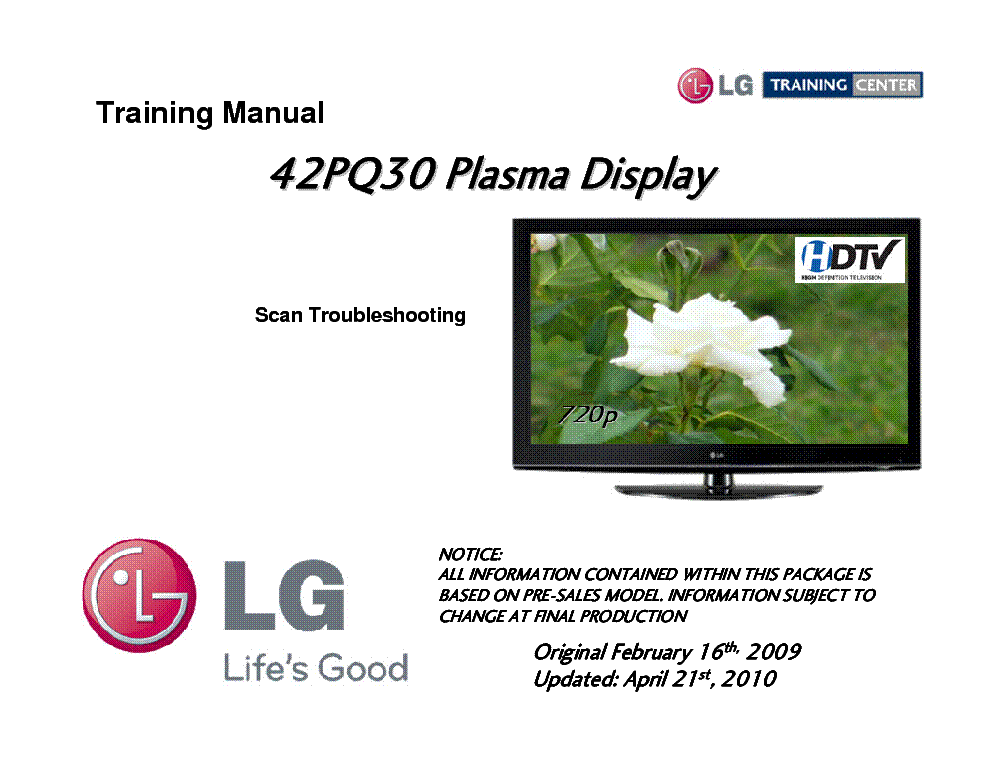 LG 42PQ30 TRAINING MANUAL service manual