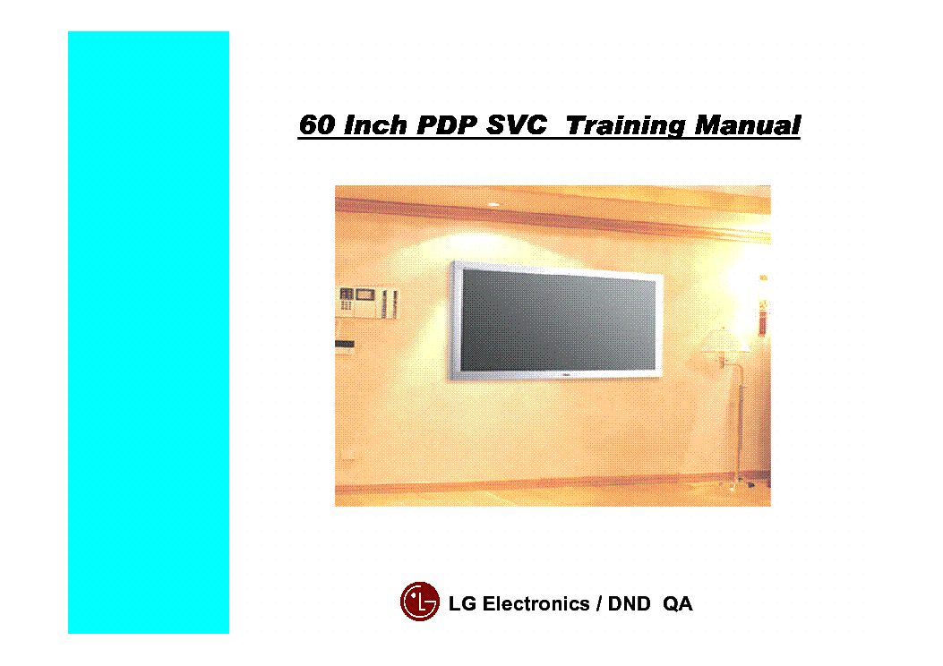 LG 60INCH PDP SVC PLASMA TRAINING MANUAL service manual (1st page)